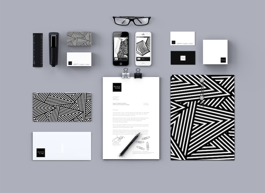 brand design with geometric pattern