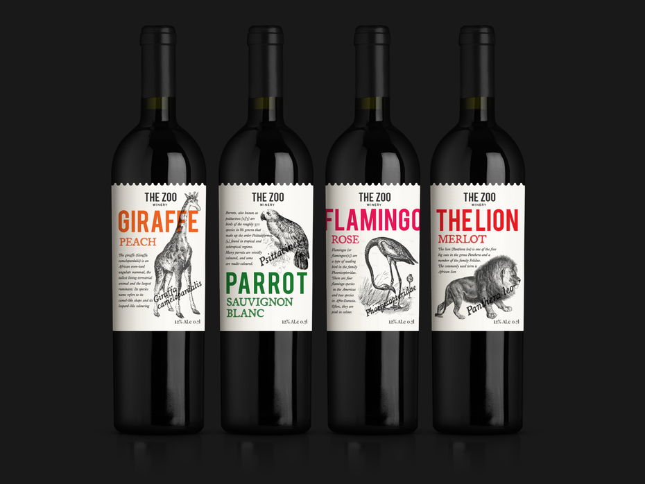 collection of animal-themed wines, each with an illustration of a different animal on the label