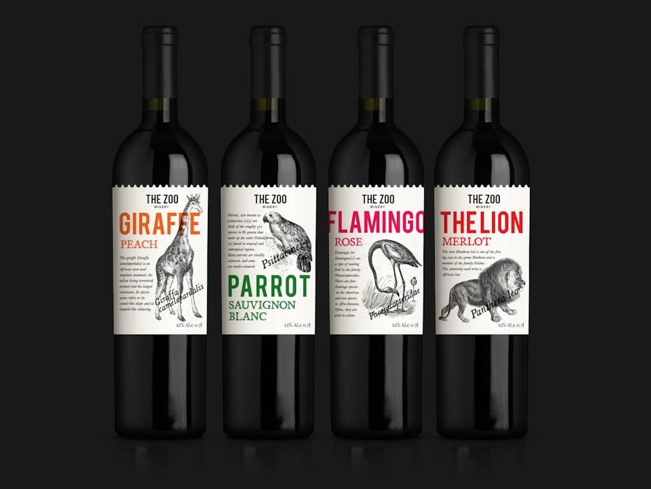 colección de vinos de temática animal, cada uno con una ilustración de un animal diferente en la etiqueta