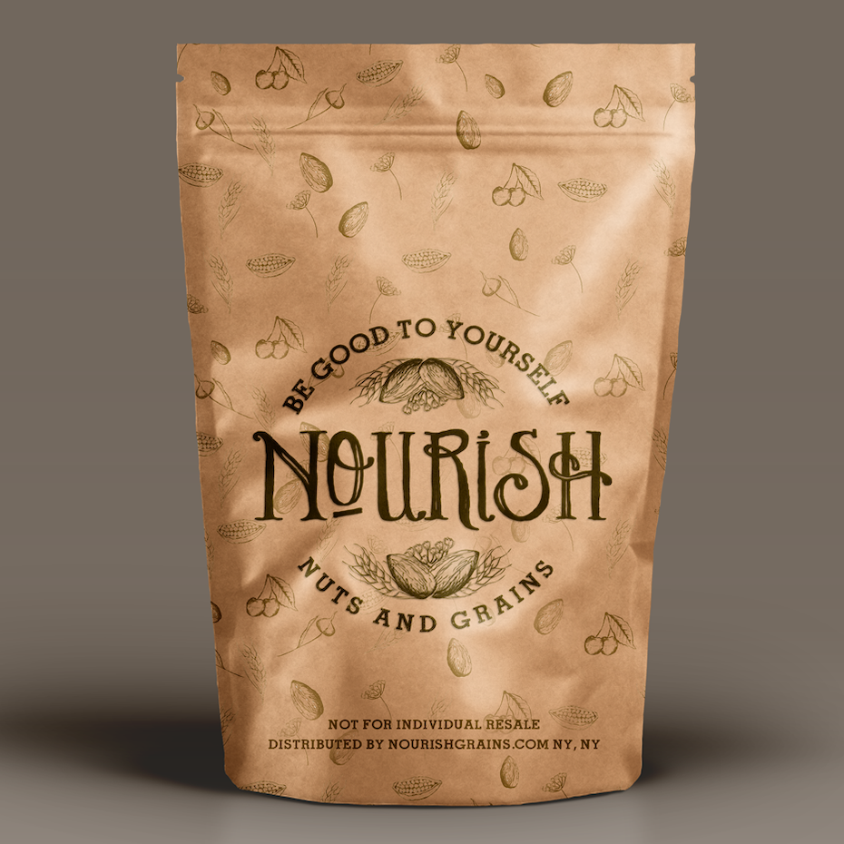 tiny pattern packaging design trend: tan pouch packaging for a nut snack