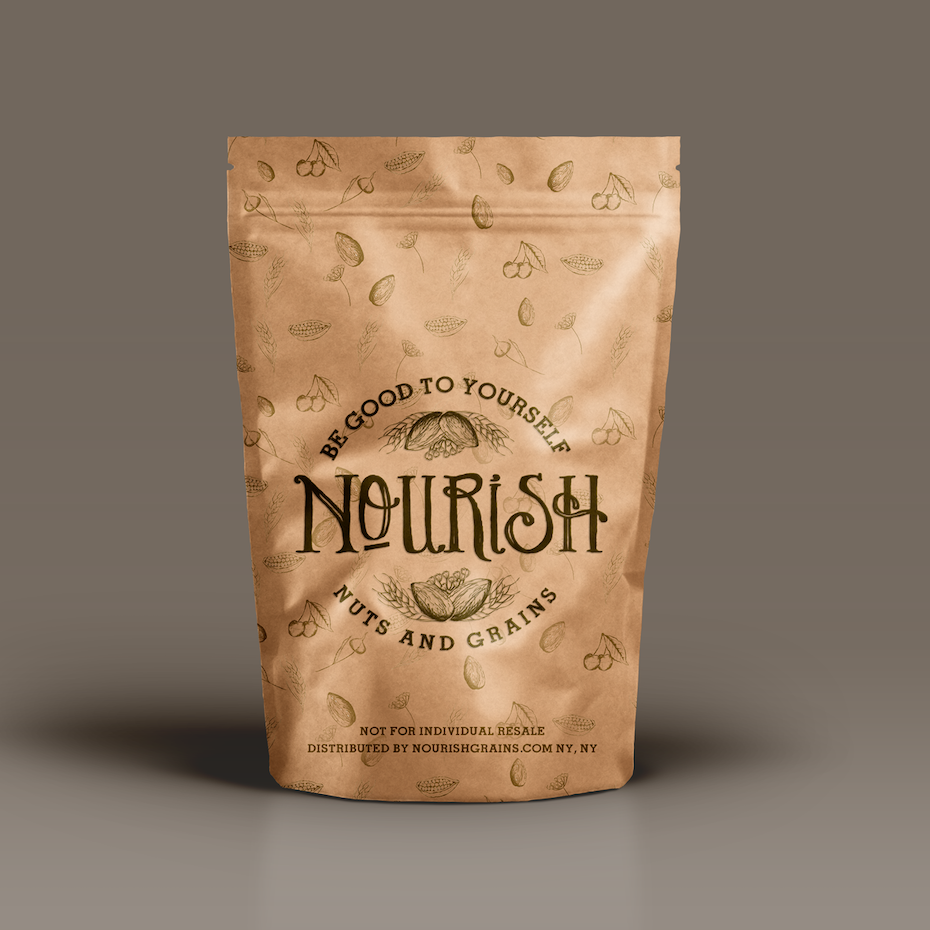 tan pouch packaging for a nut snack