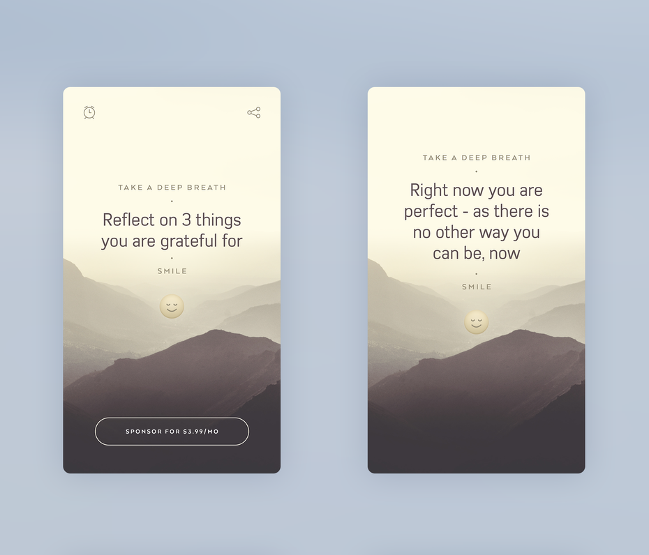 app design trend example of gentle visuals
