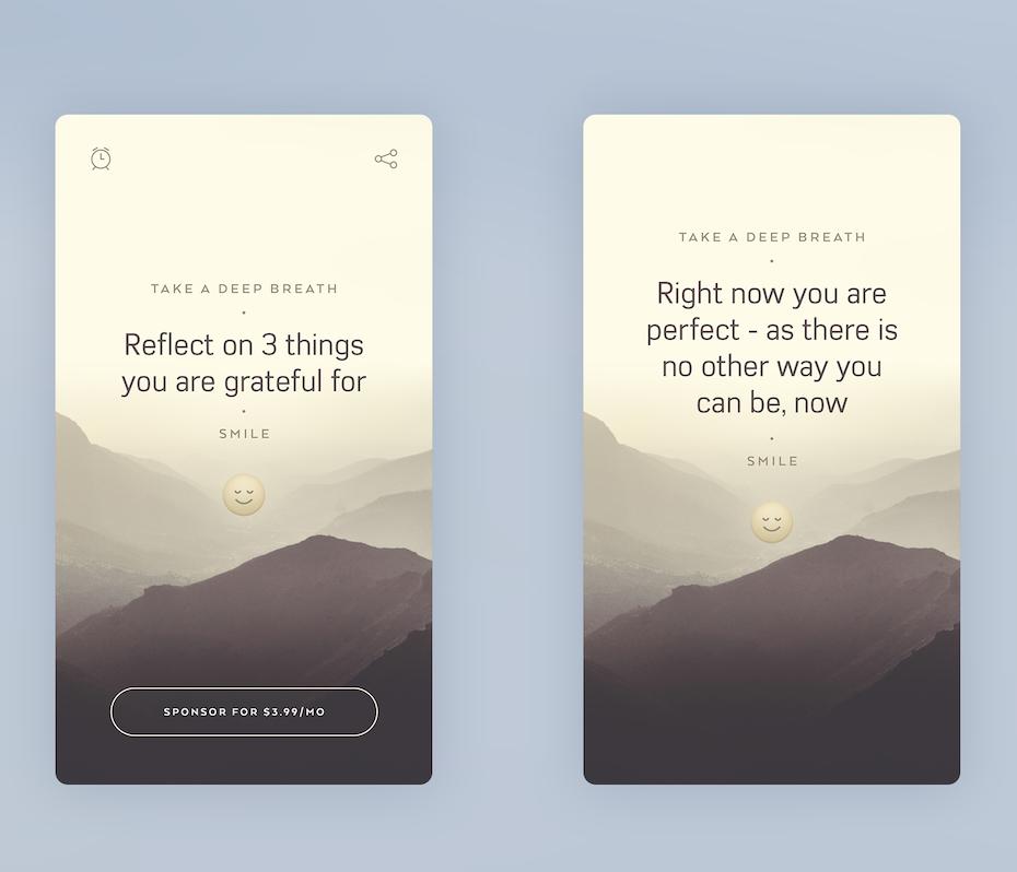 app design trend example of gentle visuals