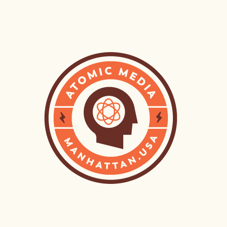 Retro futuristic atomic logo design for media brand