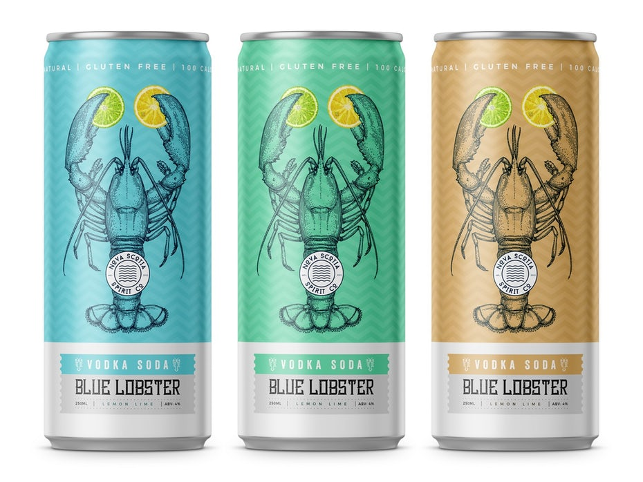anatomical drawing packaging design trend: three cans side by side, each with a lobster illustration