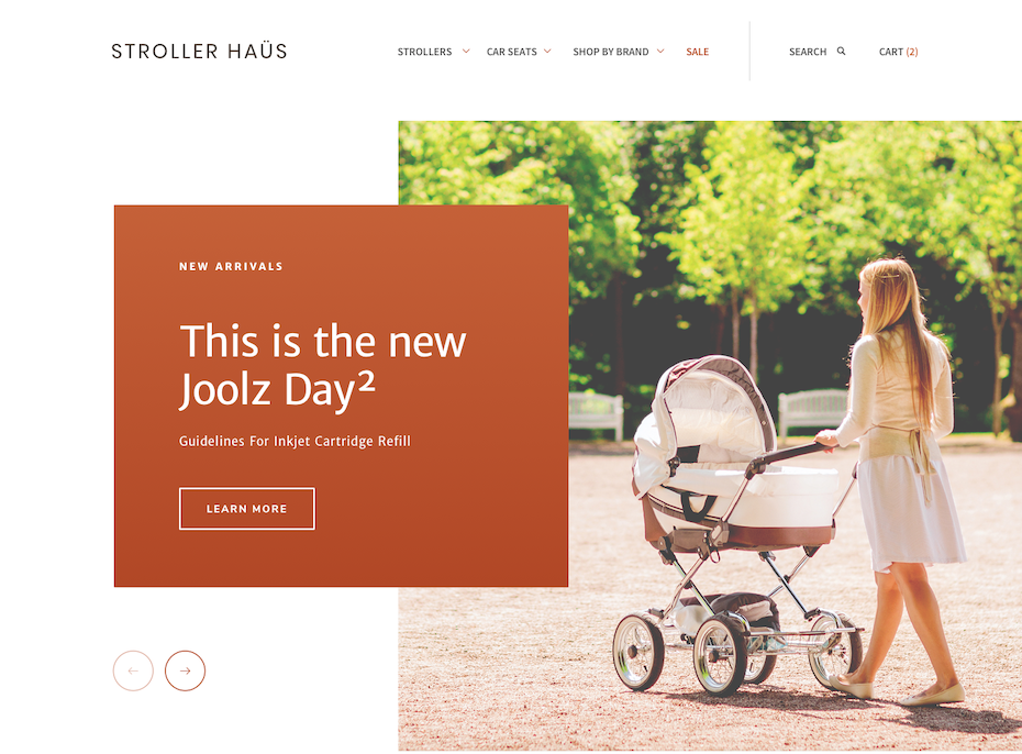 Stroller product web page design with warm colors
