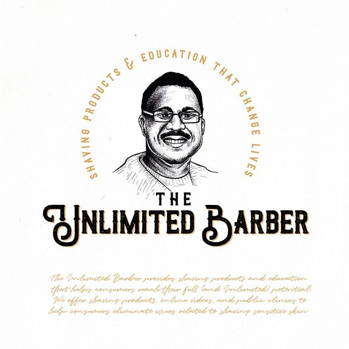 logo design trends example: Hand-drawn portrait logo design illustration for a barber