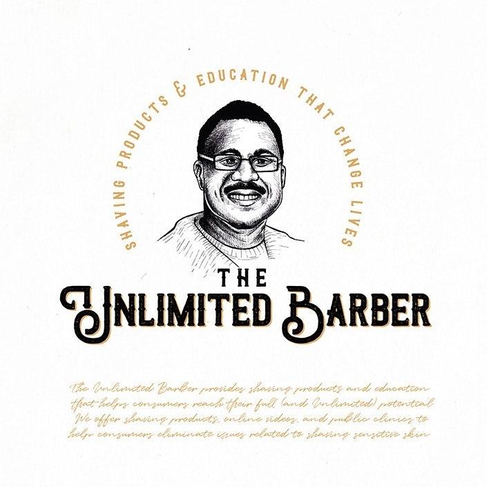 logo design trends example: Hand-drawn portrait logo design illustration for a barber