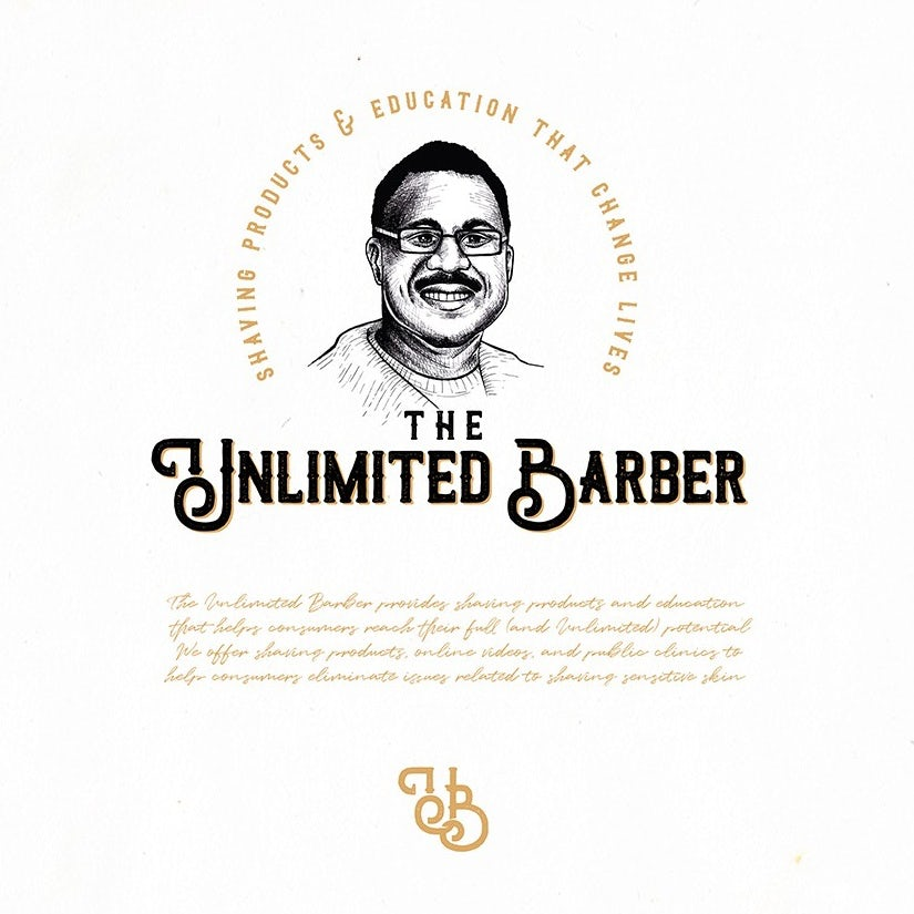 Hand-drawn portrait logo design illustration for a barber