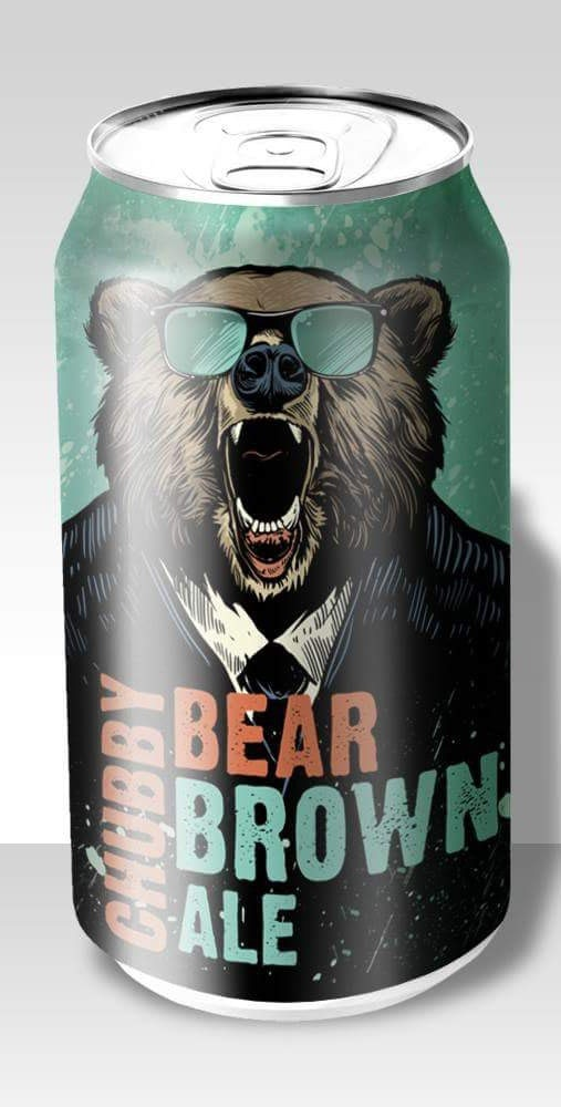 beer can showing a bear with sunglasses
