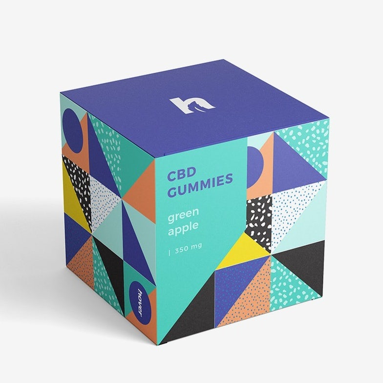 geometry packaging design trend: box for gummies designed with different geometric patterns
