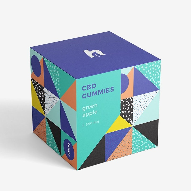 box for gummies designed with different geometric patterns