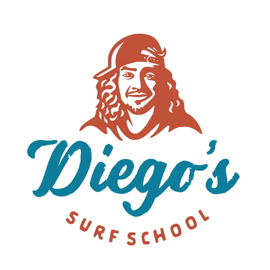 logo design trends example: Retro style portrait logo design for a surf brand
