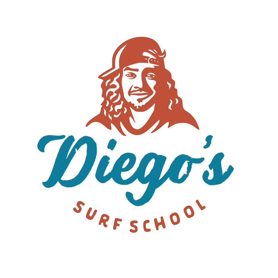 Retro style portrait logo design for a surf brand