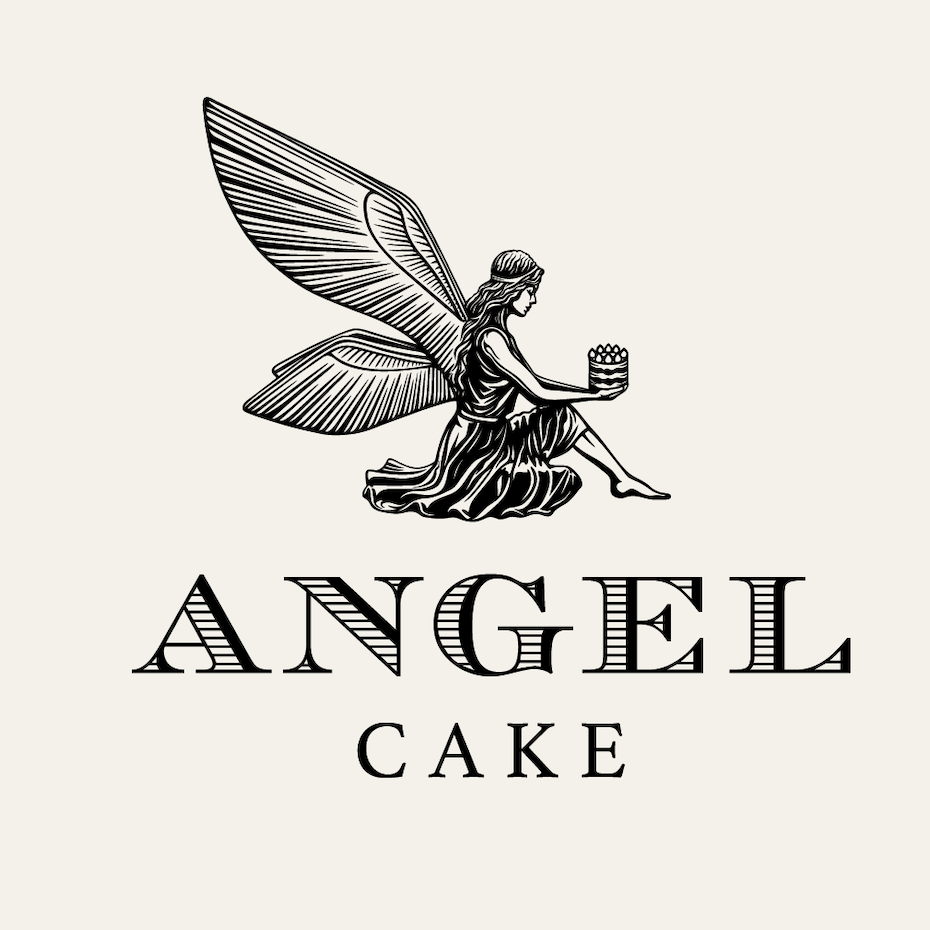 angel illustration logo design