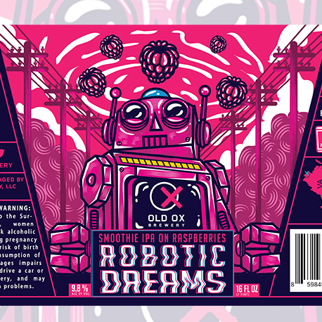 Hand-lettered label design with glitch effect