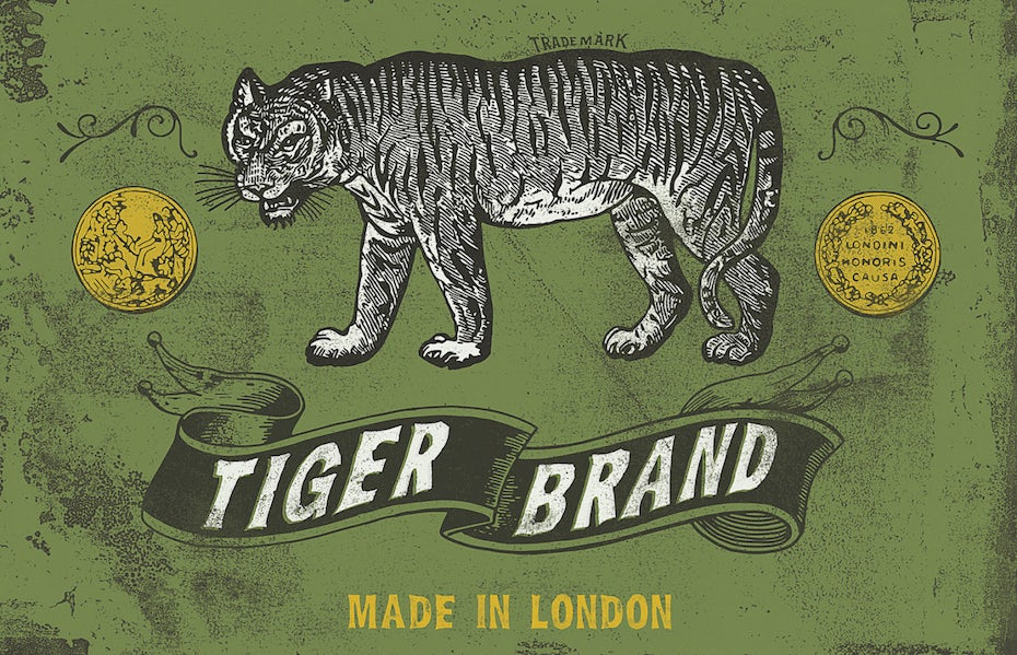 worn looking tiger logo