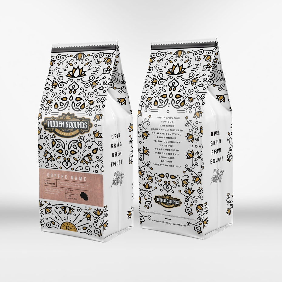 white coffee packaging with an intricate yellow and black pattern