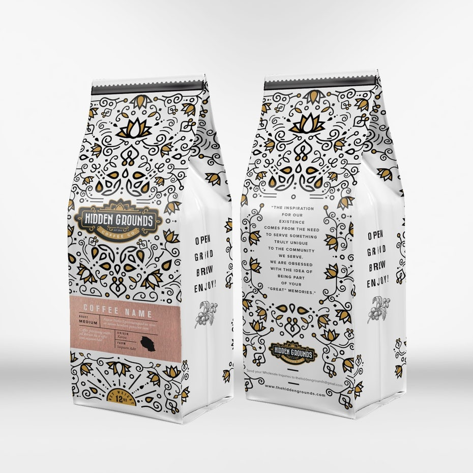 symmetry packaging design trend: white coffee packaging with an intricate yellow and black pattern