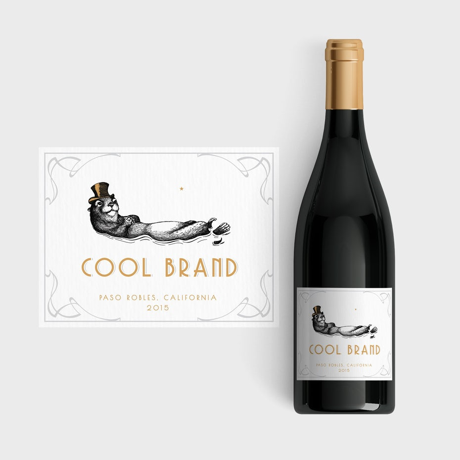 wine label with an illustration of an otter wearing a hat