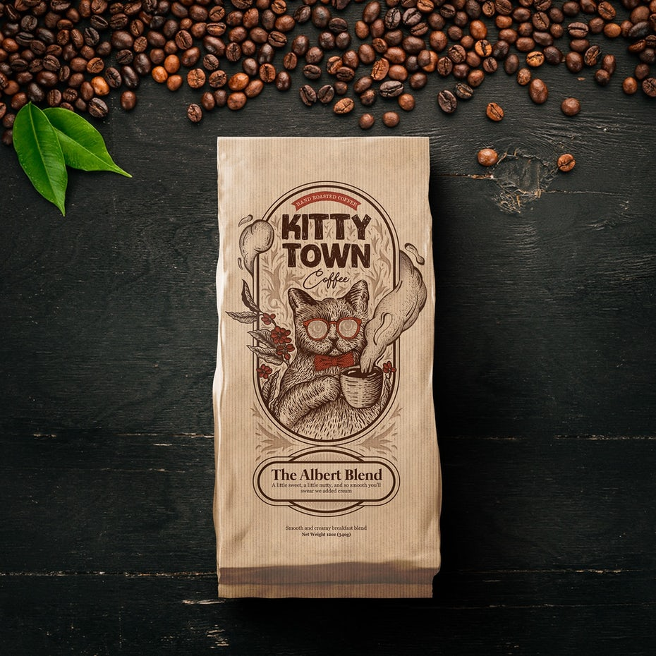 story-driven packaging design trend: coffee bean package showing a cat with sunglasses and a cup of coffee