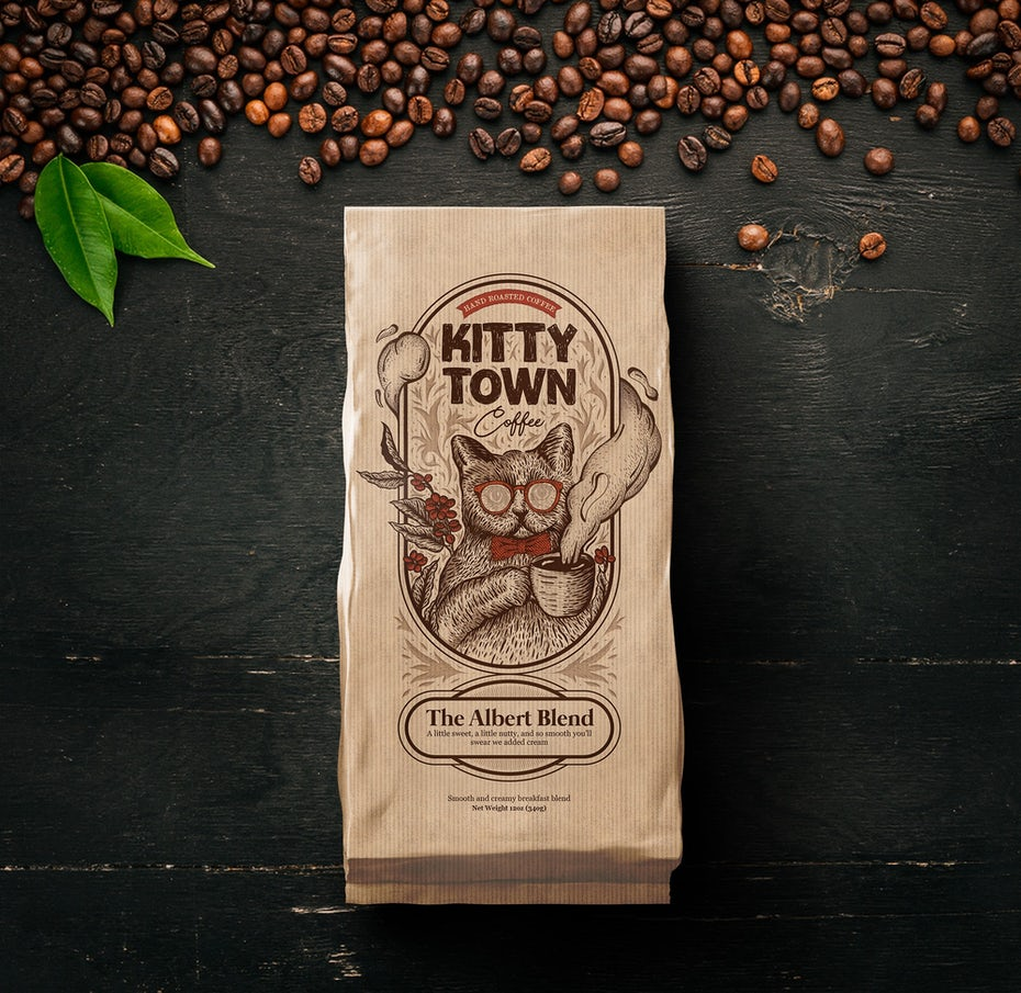 coffee bean package showing a cat with sunglasses and a cup of coffee