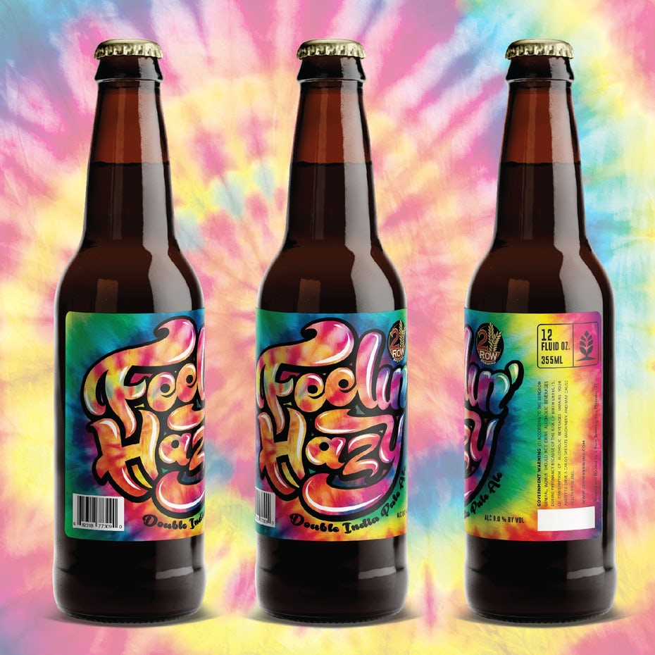 name-focussed packaging design trend: beer bottles with tie-dye text labels