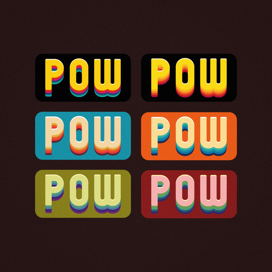 Multicolored trippy 70s style typography stickers