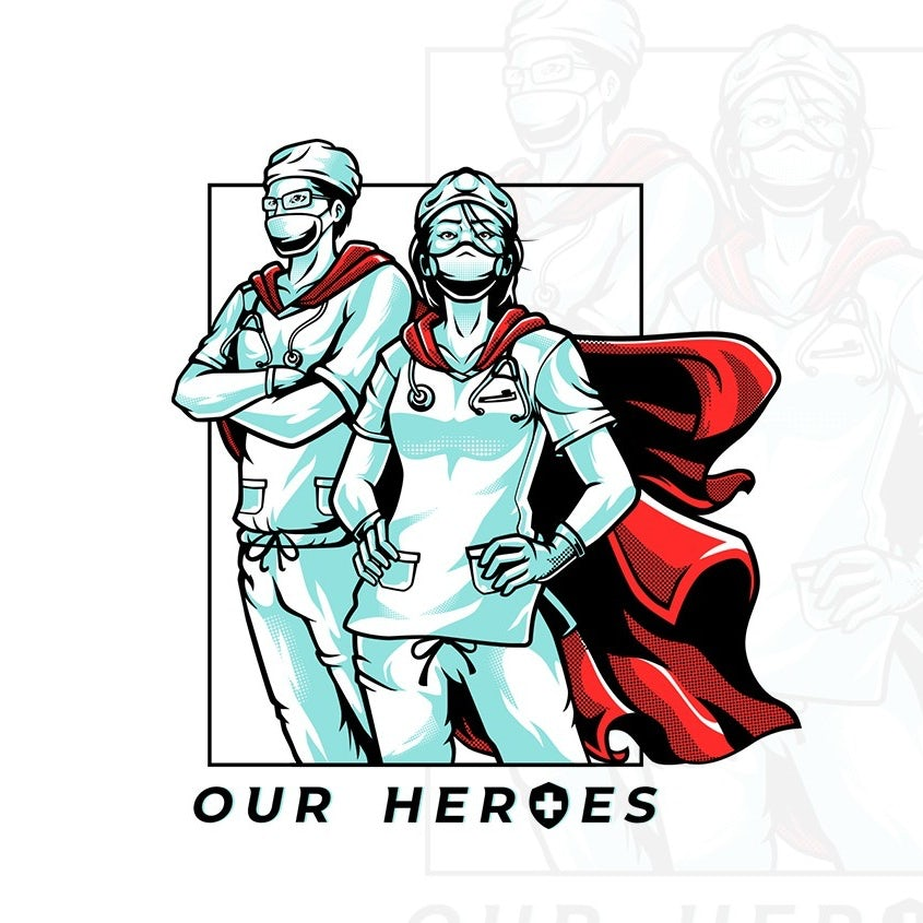 Superhero character illustration for nurses and doctors