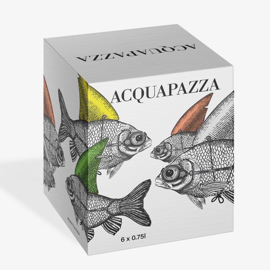 anatomical drawing packaging design trend: box showing illustrations of fish wearing goggles