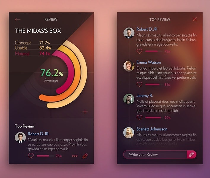 example of app design trend with angled design element