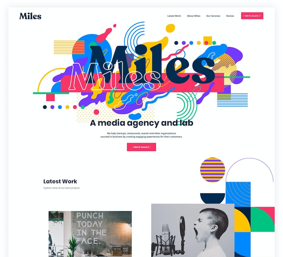 Agency web page design with abstract art elements