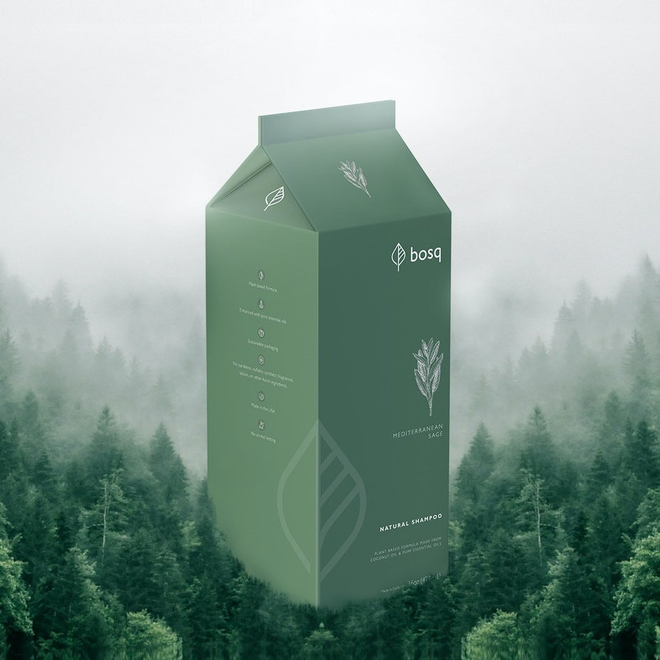Green carton design for soap company