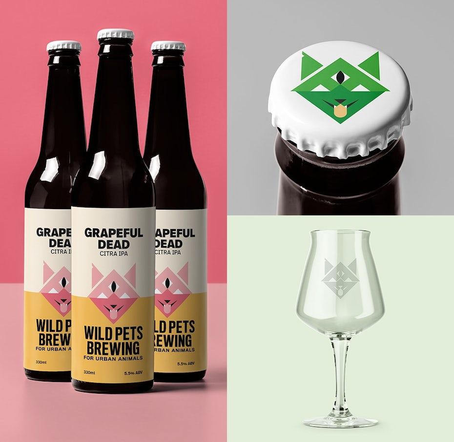 Design de logo minimaliste et symétrique pour une marque de bière