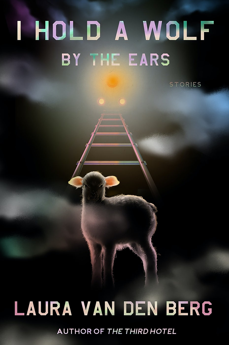 dark book cover with an image of a rainbow ladder and a lamb at its base