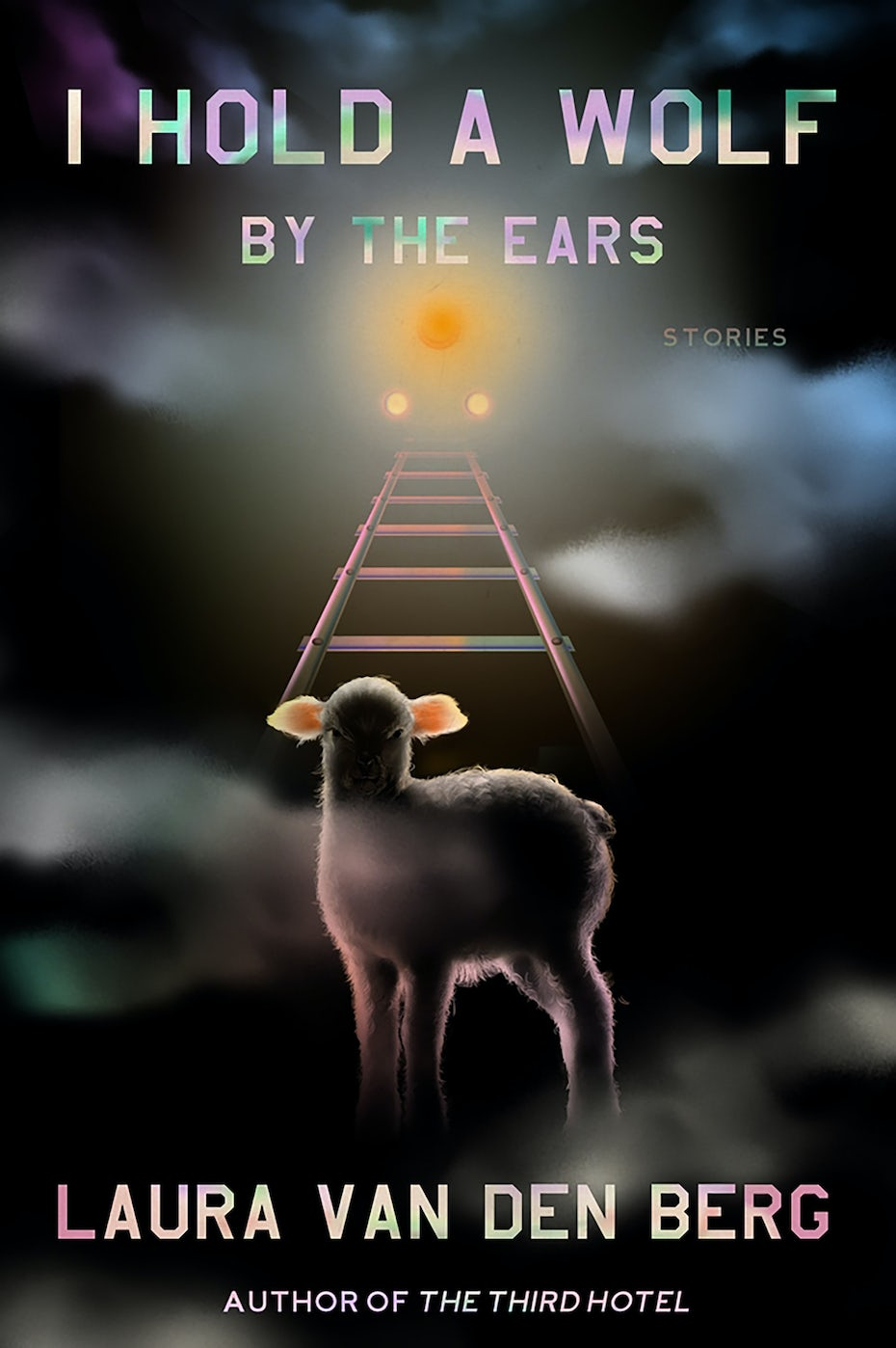 book cover trends example: dark book cover with an image of a rainbow ladder and a lamb at its base