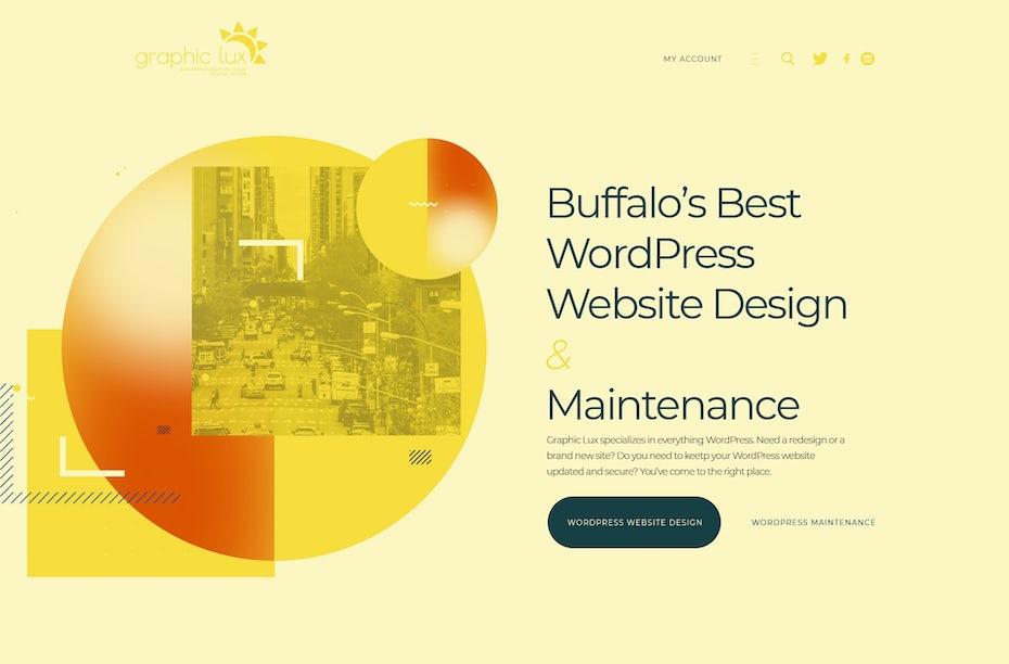 Webseiten-Design mit Farbunschärfe-Grafiken