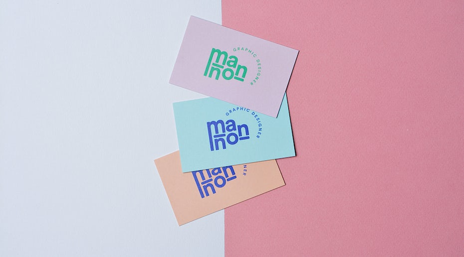 pink, green and peach business cards