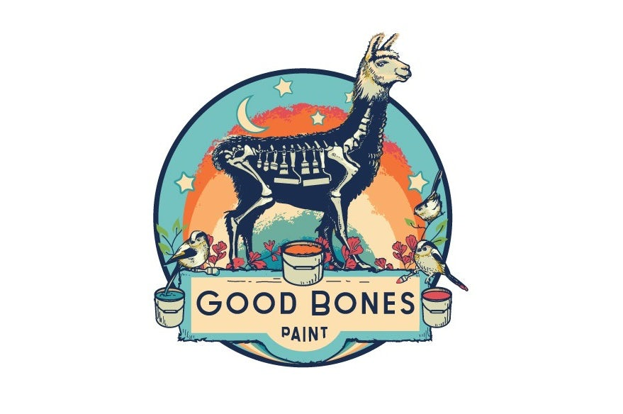multicolored paint label and logo featuring a skeletal llama