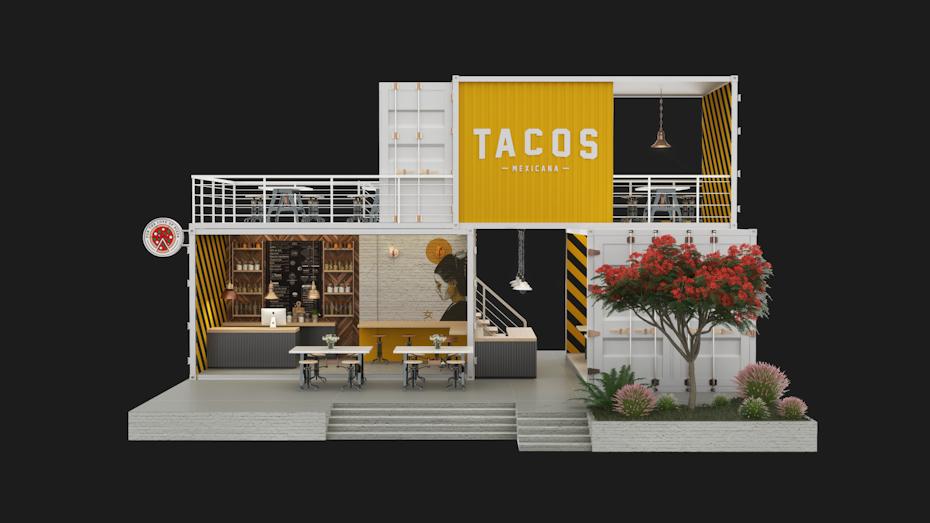 3D render of a taco kiosk