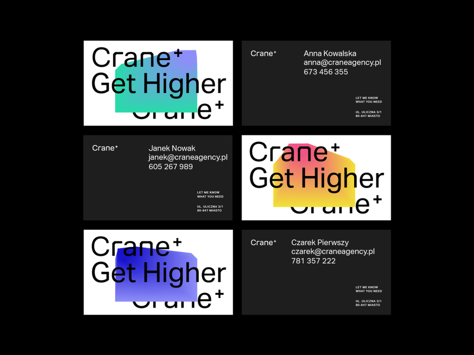 business card designs featuring different color gradient shapes