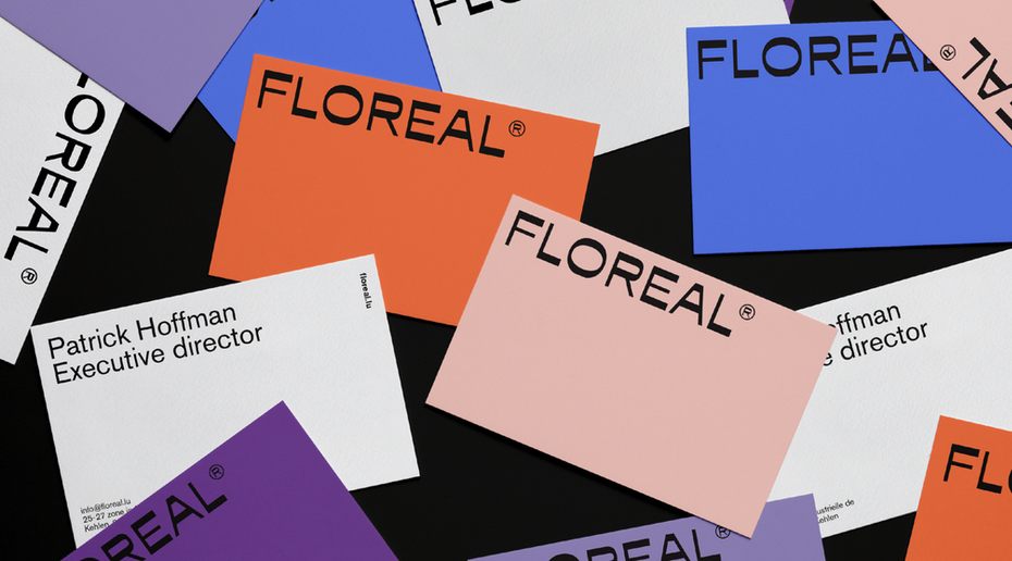 different colored business cards