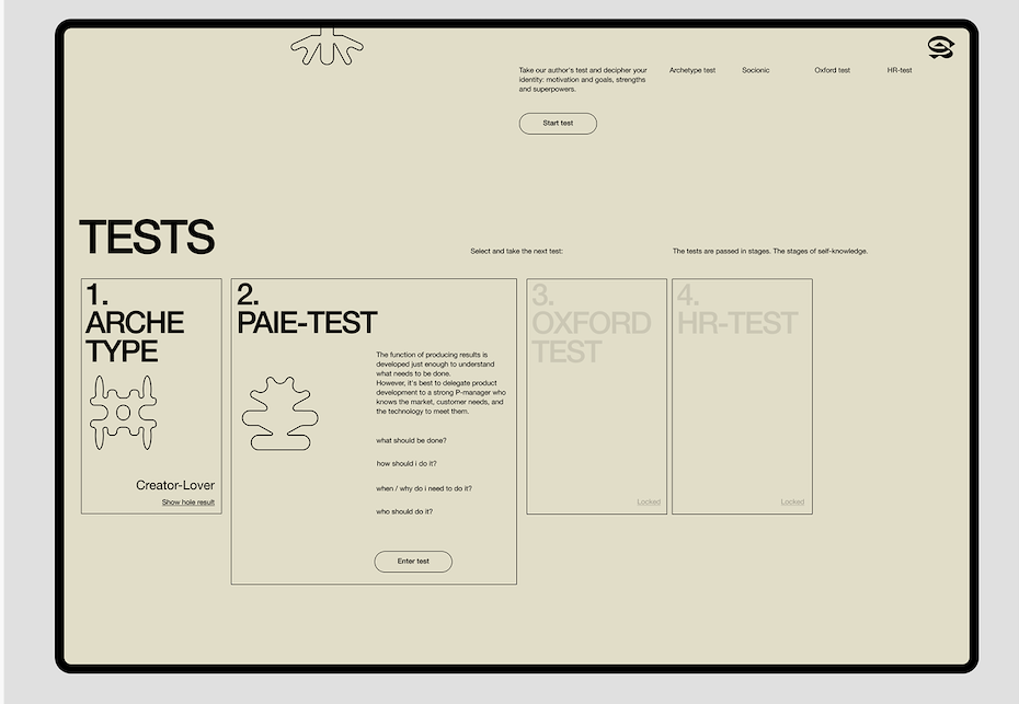 Minimalist UX design for psychological archetype individual learning app