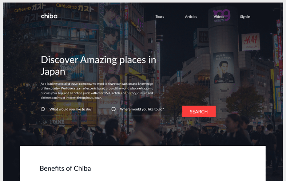 UX trend example: Travel company UX website design