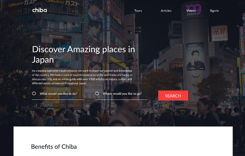 Travel company UX website design