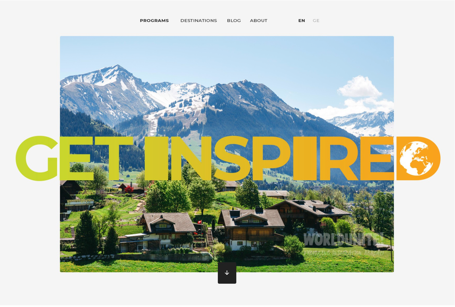 UX web page design for travel education brand
