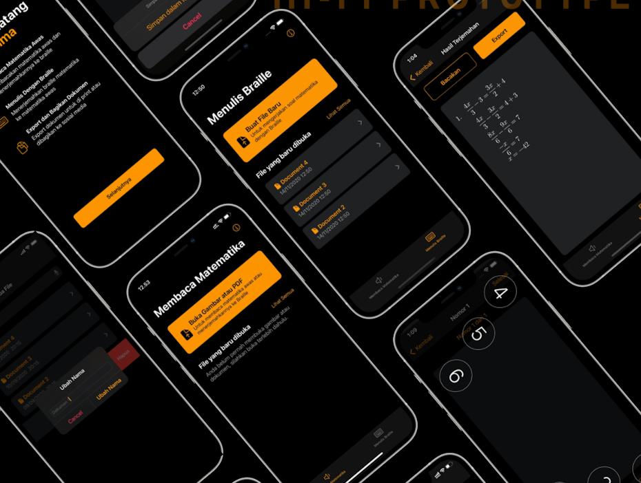 Mathematics app design using braille