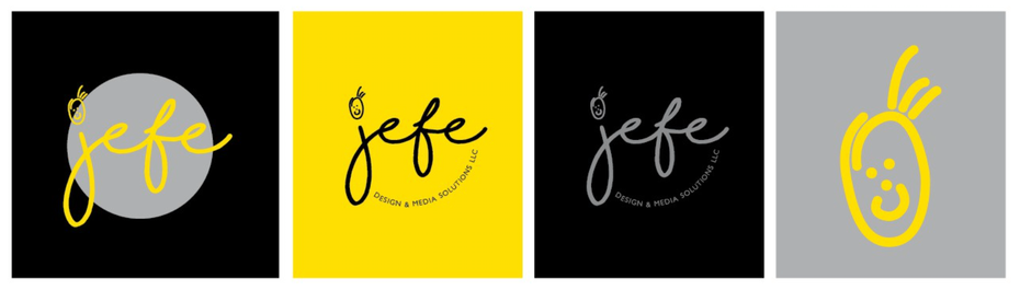 Gray and yellow illustrated logo design