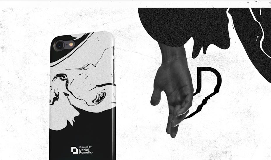 Design en noir et blanc apposé sur un iPhone
