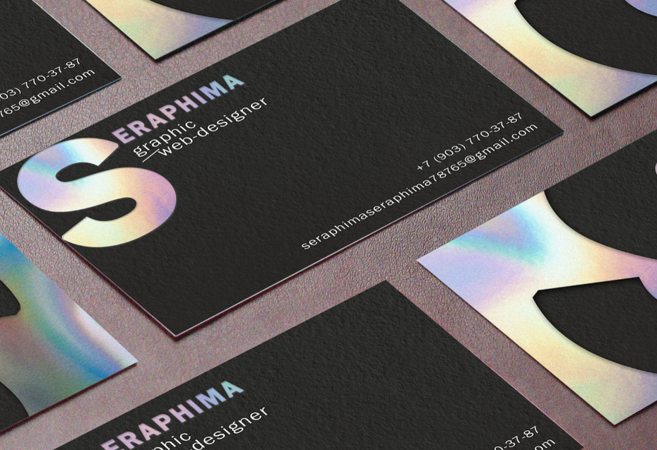 black business card with pearly gradient in the logo
